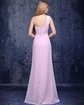 Dos Nu Une Épaule Robe Invite De Mariage Élégant Empire Simple Rose Poudré Longue Mousseline 3D Fleur Robe De Ceremonie