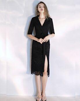 Sheath 2019 Half Sleeve Fashion Black Lace Polyester Semi Formal Dress Shirt Tea Length