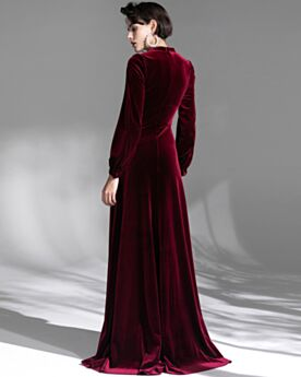 Velvet Turtleneck Formal Evening Dresses Empire Long Burgundy Modest Long Sleeves