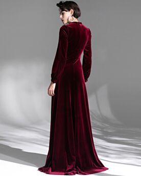 Velvet Turtleneck Formal Evening Dresses Empire Long Burgundy Modest Long Sleeves
