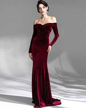 Open Back Long Off The Shoulder Velvet Charming Long Sleeved Evening Dresses Pleated Burgundy Spring