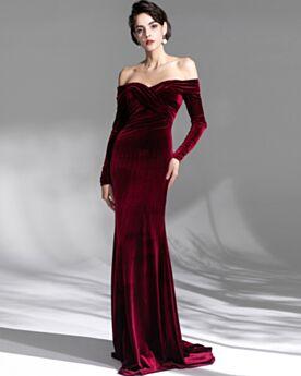 Open Back Long Off The Shoulder Velvet Charming Long Sleeved Evening Dresses Pleated Burgundy Spring