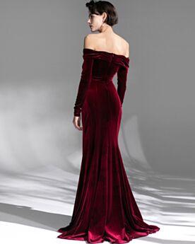 Elegante Lange Ärmel Plissee Samt Burgunderrot Abendkleider Vintage Off Shoulder Rückenausschnitt