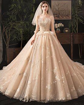 Champagne Eleganti A Fascia Tulle Glitter Spalle Scoperta Spring Vestiti Da Sposa In Pizzo Bellissimi