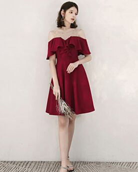 Burgundy Short Fit And Flare Tulle Short Sleeve Cocktail Party Dress Ruffle Chiffon Cold Shoulder Backless