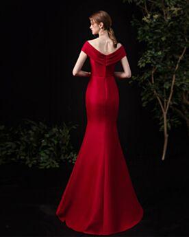Abendkleider Lange Festliche Kleider Brautjungfernkleid Schlichte Rückenausschnitt Burgunderrot Tiefer Ausschnitt Meerjungfrau