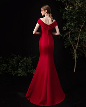 Long Simple Dress For Wedding Guest Ruffle Evening Dress Mermaid Burgundy Bridesmaid Dress For Wedding Party Open Back