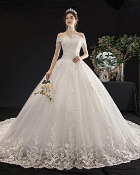 Brautkleider Elegante Off Shoulder Spitzen Glitzer Kurzarm Prinzessin Weiss Glitzernden Rückenausschnitt