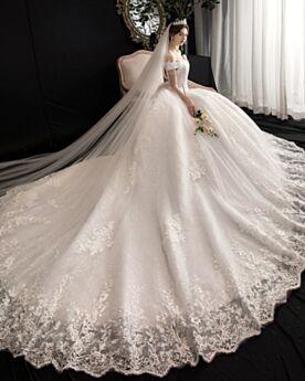 Robe De Mariée Élégant Epaule Dénudée Dentelle Glitter Manche Courte Boule Blanche Brillante Dos Nu