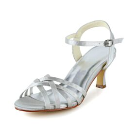 Womens Sandals Stiletto Heels Ankle Strap Bridal Shoes White 6 cm Mid Heels