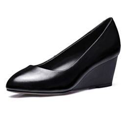 Simple 2 inch Pumps Pointed Toe Office Shoes Red Sole Wedges Black Classic Mid Heels Leather