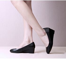 Suela Roja De Cuña Negros Zapatos 5 cm Tacones Sencillos Vestido Para Trabajo