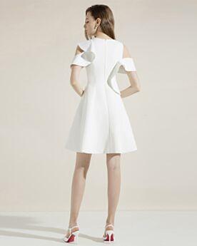 Wedding Guest Dress 2018 Short Semi Formal Dress Scoop Neck Cocktail Dress Sleeveless Simple White Ruffle Juniors
