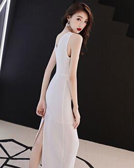 Evening Dresses 2018 Tea Length White Sheath Elegant Chiffon Semi Formal Dresses Simple