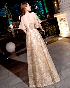 Sequin Long Formal Evening Dresses A Line Open Back Prom Dress Sparkly Transparent Low Cut Gold Red Carpet Dresses
