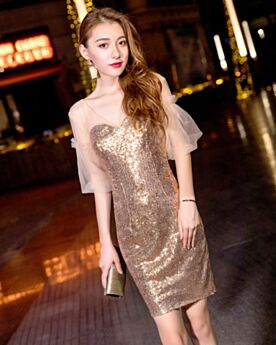 Sparkly Sequin Sheath Cute Open Back Semi Formal Dresses Gold Cocktail Dress Short