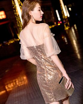 Kleider Für Festliche Etui Rückenausschnitt Silvester Kleider Schöne Pailletten Kurze Cocktailkleider Halbe Ärmel Glitzernden Gold
