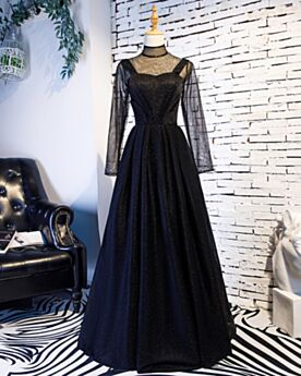 Sexy Long Elegant Long Sleeves Glitter High Neck Prom Dresses Maternity Black A Line Formal Evening Dress Transparent