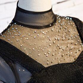 Lange Mouw Zwangerschaps Avondjurken Doorschijnende Glitter Elegante Zwart Galajurken A Lijn