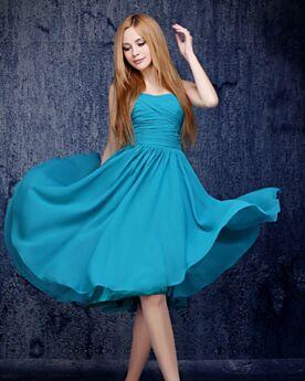 Sans Manches Mi Longue Bleu Canard Mousseline Robe D'honneur Une Épaule Évasée Simple Robe Pour Mariage Plissée