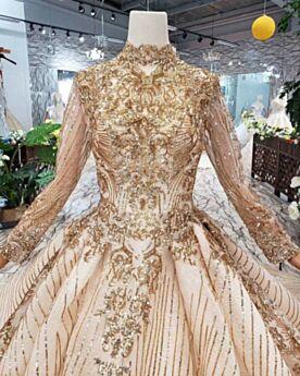 Spitzen Lange Lange Ärmel Prinzessin Hochzeitskleider Gold Glitzer Perlen Glitzernden Hochgeschlossene