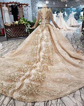 Cuello Alto Vestidos De Novia Brillantes Dorados Largos Con Cola Con Encaje De Lujo Princesa