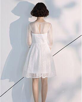 Glitzer Cocktailkleid Boho Kurze Abschlusskleider Rückenausschnitt Kleine Frauen A Linie Spitzen Weiss
