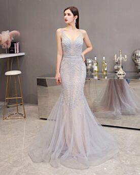 Sparkly Long Celebrity Dresses Transparent Mermaid Prom Dresses Sexy With Train Silver