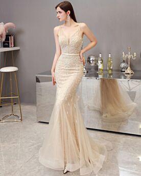 Dorados Brillantes Sirena Transparentes Largos Vestidos Para Prom Vestidos De Noche Sin Espalda
