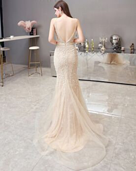 Gold Prom Dress Long Sexy Sparkly Beaded Low Cut See Through Tulle Mermaid Formal Dresses Sleeveless Open Back