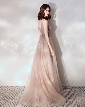 Color Champagne Bonitos Escotados Largos Vestidos De Noche Espalda Descubierta Juveniles Bohemios Vestidos Prom Transparente