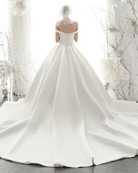 Off The Shoulder Spring Beaded Vintage Church Backless Wedding Dress