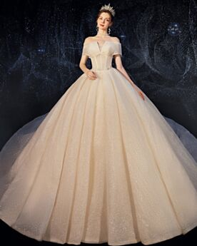 With Train Low Cut Bridal Gowns Luxury Sequin Sparkly Off The Shoulder Glitter Elegant Ball Gowns