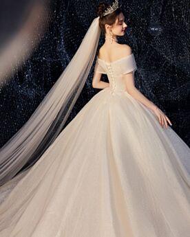 Met Staart Laag Uitgesneden Trouwjurk Luxe Pailletten Sparkle Off Shoulder Glitter Mooie Baljurk