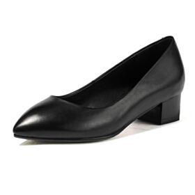 Zapatos Tacones Tacon Grueso En Punta Fina 3 cm Tacon Bajo Piel Negros De Suela Roja Vestido Para Trabajo Sencillos