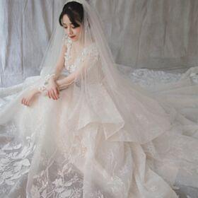 Maniche Lunghe Avorio Trasparente Abiti Da Sposa Peplum Dress Con Strass Scollato