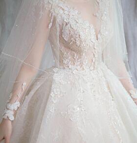 Ruffle Peplum Rhinestones Transparent Lace Bridal Gown Luxury A Line Summer Long