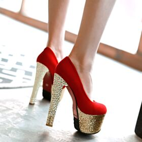 Decoltè Glitter Suola Rossa 14 cm Tacco Alto Platform Camoscio Scarpe Da Cerimonia Rosse