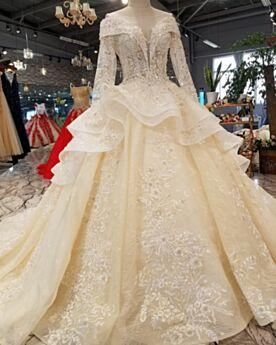 Charming Ruffle Wedding Dress Open Back Peplum Appliques Lace Long Sleeve