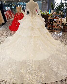 Peplum Dress Abiti Da Sposa Principessa Pizzo Maniche Lunghe Con Schiena Scoperta Scollo Profondo Avorio Tulle Con Applicazioni