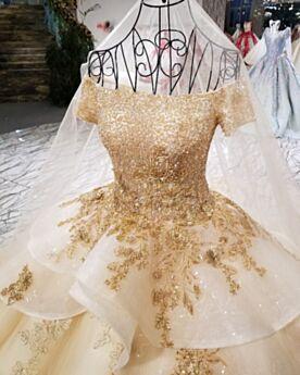 De Lujo Brillantes Apliques De Encaje Purpurina De Tul Hombros Caidos Manga Corta Dorados Bordado Vestidos De Novia