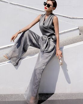 Wide Leg Pants 2019 Smock Going Out Gray Boho Maxi Casual Dress Jumpsuit Outfit