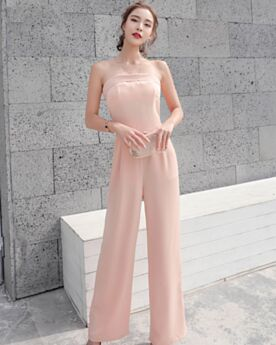 Open Back Bandeau Maxi Shift Jumpsuits High Waisted Pants Simple Sleeveless Blushing Pink Casual Wear