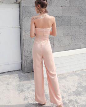 パンツ ドレス カジュアル ノースリーブ ハイ ウエストパンツ バックレス オフショルダー シフォン ピンク ロング シンプル な ストレート 93320190115