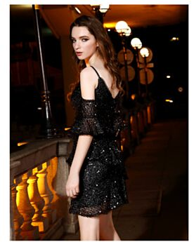 Fit And Flare Short Backless Ruffle Peplum Beautiful Spaghetti Strap Cocktail Dress 2019 Sequin Club Dresses