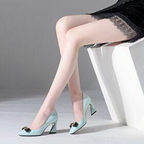 Tacon Alto 8 cm Zapatos Mujer Casuales Modernos Azul Claro Tacon Ancho Piel