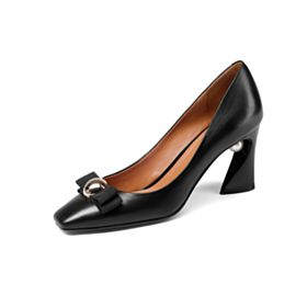 3 inch High Heel Black Leather Pumps Dress Shoes Patent Chunky Heel