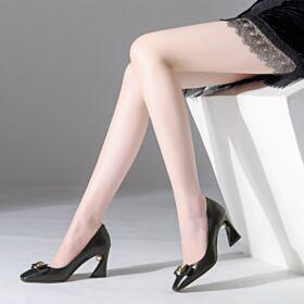 Leder 2020 Pumps Schwarz Mit Perle Runde Zeh Damenschuhe 8 cm High Heels