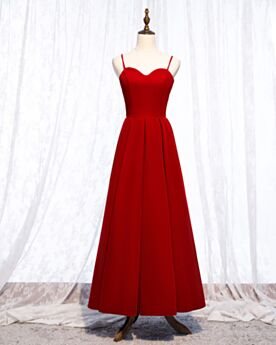 Spaghetti Strap Wedding Guest Dresses Simple Red Pleated Ball Gown