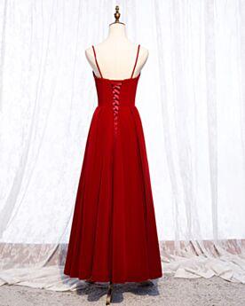 Plissée Bretelles Fines Simple Robe Demoiselle D honneur Pour Mariage Rouge Robe Ceremonie Longueur Cheville Boule